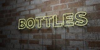 BUTELKI - Rozjarzony Neonowy znak na kamieniarki ścianie - 3D odpłacająca się królewskości bezpłatna akcyjna ilustracja Fotografia Royalty Free