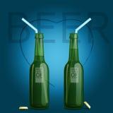 Butelki słomy serce Zdjęcie Stock