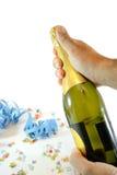 butelki szampański mienia mężczyzna Fotografia Stock