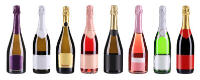 Butelki szampan z rzędu. Kolaż. Zdjęcie Royalty Free