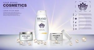 Butelki szamponu i prysznic gel szur ciała Kosmetyczny ustawiający dla projekta na błękitnym tle Zdjęcie Stock