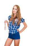 butelki szczęśliwego mienia isola uśmiechnięta wodna kobieta Zdjęcia Stock