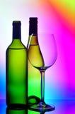 butelki szkła sylwetek wino Zdjęcia Royalty Free