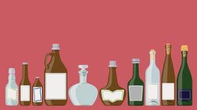 Butelki ustawiać: alkoholiczni napoje royalty ilustracja