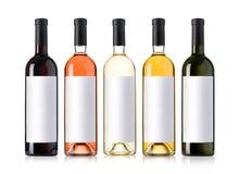 butelki ustawiają wino Zdjęcia Royalty Free