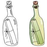 butelki wiadomość Zdjęcia Stock