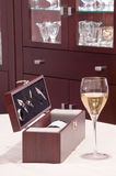 butelki wina akcesoriów pudła Zdjęcia Royalty Free