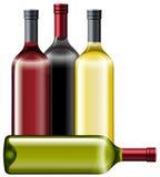 butelki wino cztery royalty ilustracja