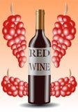 butelki winogron ilustracyjny czerwieni wektoru wino Zdjęcie Stock