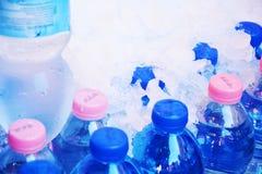 Butelki woda w lodzie Fotografia Royalty Free
