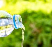 Butelki woda zrobił klingeryt na drewnianym i drzewnym rozmytym bokeh tle w ogródzie Używać tapetę dla pakunku lub produktu i Obraz Stock