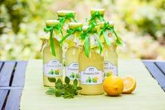 Butelki z cytryna balsamu syropem Obrazy Royalty Free