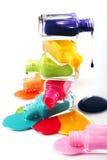 Butelki z gwoździa rozlewającym połyskiem Zdjęcie Royalty Free