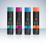 Butelki z próbek etykietkami dla prysznic szamponu lub gel royalty ilustracja
