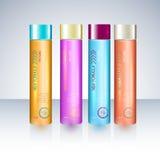 Butelki z próbek etykietkami dla prysznic szamponu lub gel ilustracja wektor