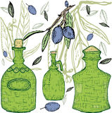 butelki zielenieją oliwki Obrazy Royalty Free