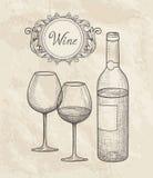 butelkuje szkła ustawia biały wino siedem sześć Wina szkło, butelka, pisze list Cukierniany menu Wino karciany sk Fotografia Stock
