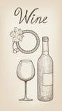 butelkuje szkła ustawia biały wino siedem sześć Wina szkło, butelka, pisze list Cukierniany menu Wino karta Obraz Stock