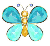Buterfly brooch. Gold butterfly brooch ideal of precious stones Royalty Free Stock Images