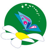 BUTERFLY ON  a flower. An illustration of a blue butterfly sitting on a flower Stock Photography