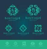 Butike Blumen-Logo Set Stockbild