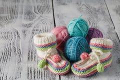 Butins de bébé de crochet Photos stock