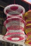Butla kształt wieszał kolorowego fishnet zdjęcia stock
