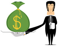 Butler. Holding a tray with a bag of money stock illustration