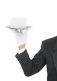Butler with Blank Card on Tray Royalty Free Stock Photos