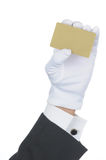 Butler with blank Gold Card Royalty Free Stock Photography