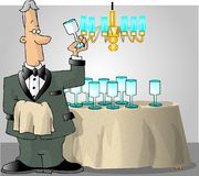 Butler checking the glassware. This illustration that I created depicts a butler in a tuxedo checking the glasses fro spots Stock Photo