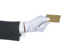 Butler with Gold Card Stock Image