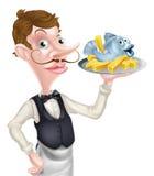 Butler Holding Fish y Chips Tray Fotografía de archivo