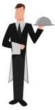 Butler. Image of a fancy cartoon butler stock illustration