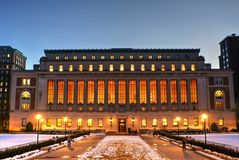 Butler Library at Columbia University. View of Butler library at dusk. The largest of Columbia University`s Libraries. Located at Morningside campus Royalty Free Stock Image