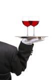 Butler met de Glazen van de Wijn op Dienblad Stock Foto