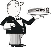 Butler with newspaper cartoon Stock Photo