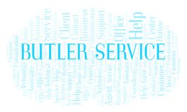 Butler Service word cloud. Wordcloud made with text only vector illustration