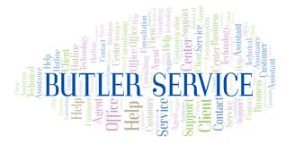 Butler Service word cloud. Wordcloud made with text only stock illustration