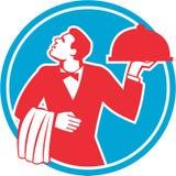 Butler Serving Food Platter Circle Retro Royalty Free Stock Photos