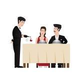 Butler. Serving wine to guests, vector illustration vector illustration