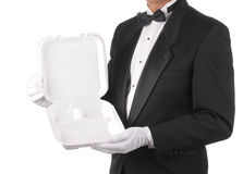 Butler with Take-out Food Container Royalty Free Stock Photo