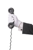 Butler with Telephone Receiver Royalty Free Stock Photo