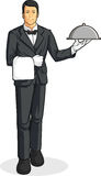 Butler or Waiter Serving Tray of Food. A vector image of a butler/waiter serving a tray of food. Drawn in cartoon style, this vector is very good for design that Stock Photo
