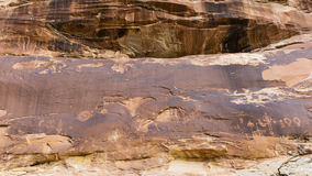 Butler Wash Cliff Wall and Petroglyphs Royalty Free Stock Images