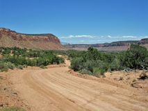 Butler Wash. Road is an off-road drive near Bluff, Utah that provides access to several ruins, petroglyphs and pictographs sites Royalty Free Stock Photos