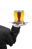 Butler with Wine Glasses on Tray Royalty Free Stock Photo