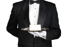 Free Butler With Note On Tray Stock Image - 88957161