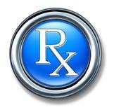 Buton de bleu de rx de prescription Photos stock