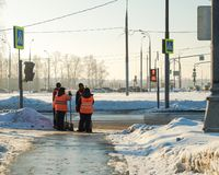 Butovo Moscow workers waiting the signal stock image